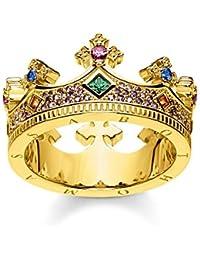 Thomas Sabo Femme Bague Couronne Or Argent Sterling 925, Doré Or Jaune 18 Carats TR2265-973-7