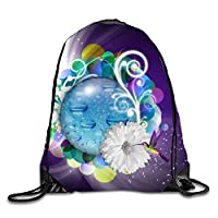 HouyunCC Adjustable Folding Sport Backpack Drawstring Bag Hummingbird Feeding From A Daisy Home Travel Storage Use
