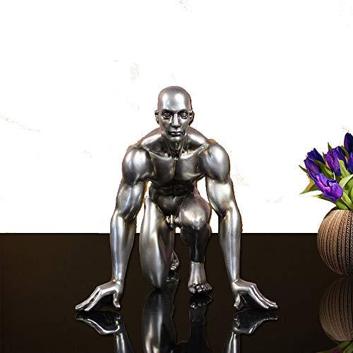 ZHZX Moderne Skulptur. Der Athlet, der Sich vorbereitet, von Einer Rennen-Harz-Grafik-Statue zu beginnen, für Innenraum verzieren, 26cm hoch