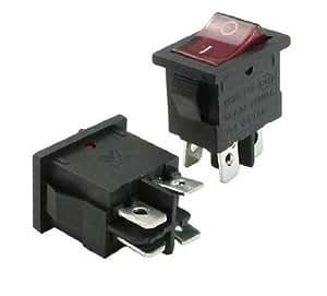 Baomain 6A/12A 250VAC 10A 125VAC 4 broches DPST voyant rouge Interrupteur à bascule 2 Pcs