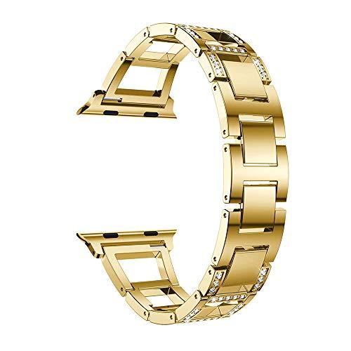 TianranRT Edelstahl Kristall Armband Watch Band Ersatz für Apple Watch 4 (44mm) (Gold) (Ipod Watch Band Apple)