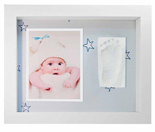 Kit impronta bambino, cornice bianca impronta neonato con portafoto in legno per mani e piedi del bambino - due impronte e cornice foto - una battesimo regalo perfetto bimbo,stelle blu