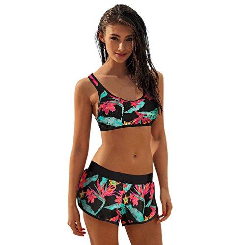 Bikini Damen Push Up LHWY Frauen Mädchen Lady Kostüm Retro Gepolstert Bikini Set Sport Vintage Badeanzug Monokini Shorts Bademode Sommer Geometrischer Modedruck (2XL, Grün)