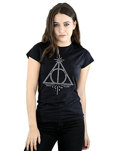 HARRY POTTER Damen Deathly Hallows Symbol T-Shirt Medium Schwarz (Symbole T-shirt Schwarze)