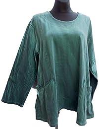 c164223396ad Labass Damen Tunika Shirt Cotton Lagenlook Kurzarm Übergröße A-Stil Gr.  48-50,…