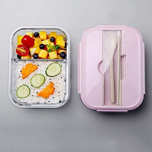 Sealed Lunch Box mit Geschirr Glas Mikrowelle Box Lebensmittel Aufbewahrungsbox Schulnahrungsmittelbehälter mit Fächern for Kinder, 850ML,Pink2Grids