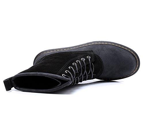 Smilun Bottes Basses Femme Chaussures 7 Eyes Derby Classic Suède et PU Lisse en Vogue Noir