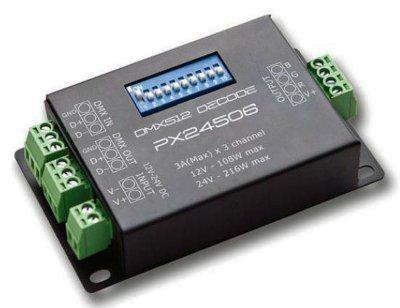 Energmix LED Controller PX-24506 RGB DMX 3-Kanal PX24506 Decoder Treiber DMX 512 Verstrker Controller 12V 24V RGB LED, 2351 von Net GmbH auf Lampenhans.de