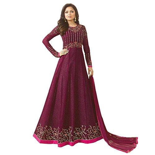 Ethnic Empire Women's Georgette Semi Stitch Salwar Suit (Ethnic_ER110103_Purple_Free Size)