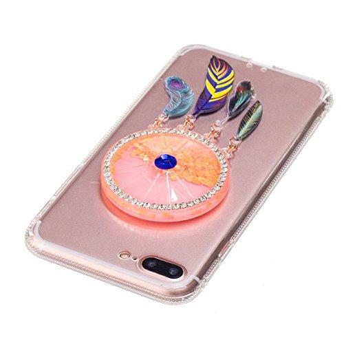 iPhone 7 Plus Hülle, iPhone 7 Plus Liquid Hülle, Gift_Source [ Bär ] Glitzer Hülle , Liquid Case, Glitter Hülle Cool 3D Fließen Flüssig Bling Schwimmend Treibsand Stern Luxus Shiny Case Glanz Shiny Ef E1-Orange Traumfänger