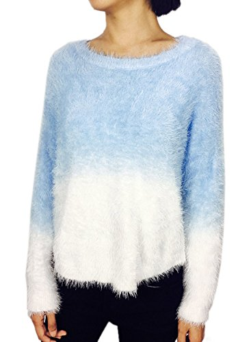 Futurino Femme Mohair Gradient Manches Longueuess Pull Col Rond Sweater Bleu 3