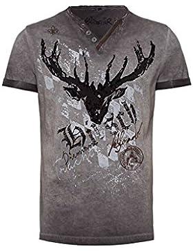 Hangowear Moser Trachten Trachtenshirt Anthrazit mit Hirschmotiv Avon 003795, Material Baumwolle, V-Kragen