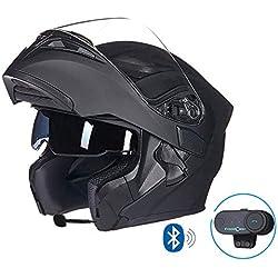 MTCTK Interphone sans Fil intégré de Casque de Moto de Moto Casque intégral intégrable de Moto avec la Double lentille Anti-buée,MatteBlack,M(56~57) CM