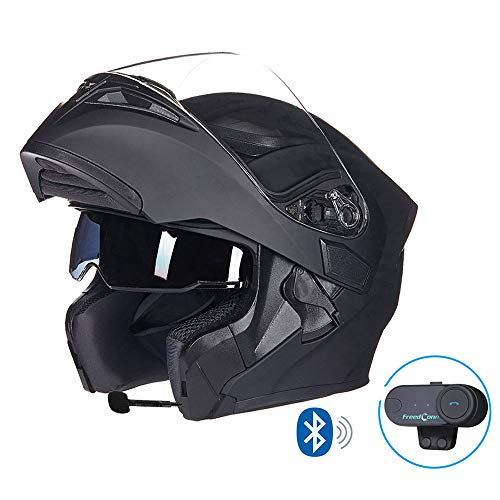 MTCTK Moto Integrato Casco Bluetooth Senza Fili interfono Moto Casco Integrale Flip-up con Doppia Lente Anti-Fog,Black,L(58~59) CM