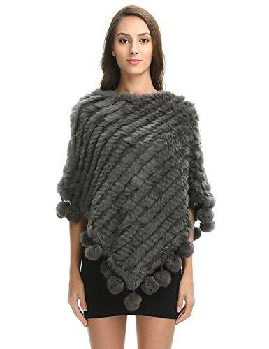 Ferand - Poncho Caldo Elegante Mantella Inverno In Vera Pelliccia Di Coniglio Maglia Con Nappe - Donna Grigio scuro(con pompoms)