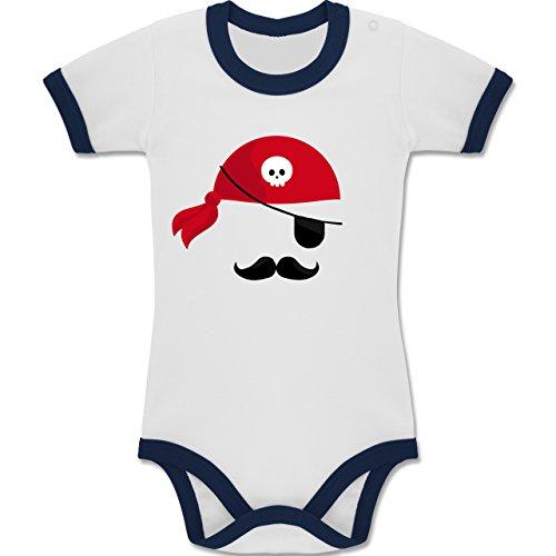 und Fasching Baby - Pirat Kostüm - 12-18 Monate - Weiß/Navy Blau - BZ19 - Zweifarbiger Baby Strampler für Jungen und Mädchen (Blaue Piraten Mädchen Kostüme)