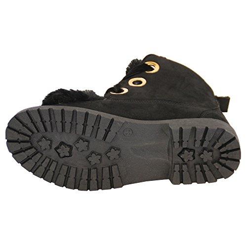Botas De Gamuza De Mujer Botas De Bota De Tacón Bajo De Mujer Soft Botines De Invierno Invierno Negro - Am6861