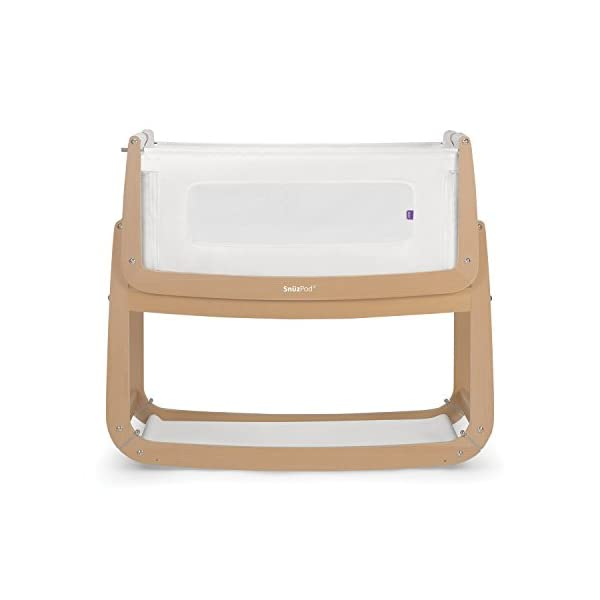 SnuzPod 3 Bedside Crib - Natural Snuz SnuzPod 3 has added functionality, a lighter bassinet and a more breathable sleeping environment. More than just a bedside crib; use as a bedside crib, stand alone crib or moses basket/bassinet. Simply attach the crib to your bed using straps provided (fits frame and divan beds) and your ready use as a bedside crib. The 9 different height settings allow you to ensure the crib is the right height for your bed (31-63cm) New! SnuzPod 3 now comes with an optional reflux function, by tilting the crib and setting an incline to reduce reflux symptoms little one can get a better nights sleep. 1