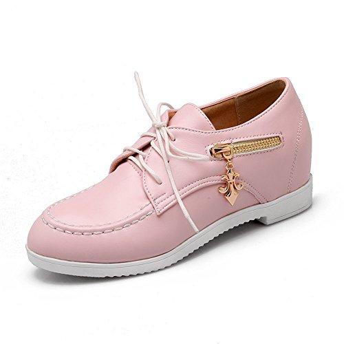 Wedges Riemchen Braune (AllhqFashion Damen Mittler Absatz Weiches Material Eingelegt Schnüren Rund Zehe Pumps Schuhe, Pink, 39)