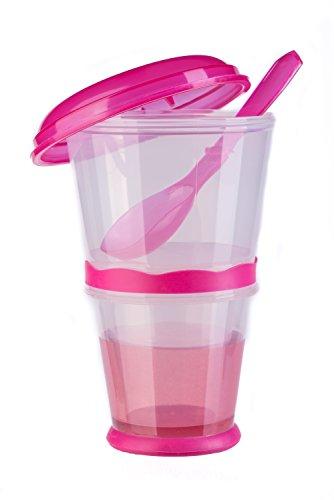 blupalu Müslibecher to go mit isoliertem Milch-Kühlfach Müsli-Fach & Löffel 2-go für unterwegs, Pink