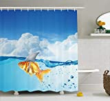 LongTrade Sea Animal Decor Shower Curtain Rideaux de Douche Cute Goldfish with Shark Fin on Top of The Water Fake Comic Nature Image, Fabric Bathroom Decor Set with Hooks Blue Orange 72x72 inch