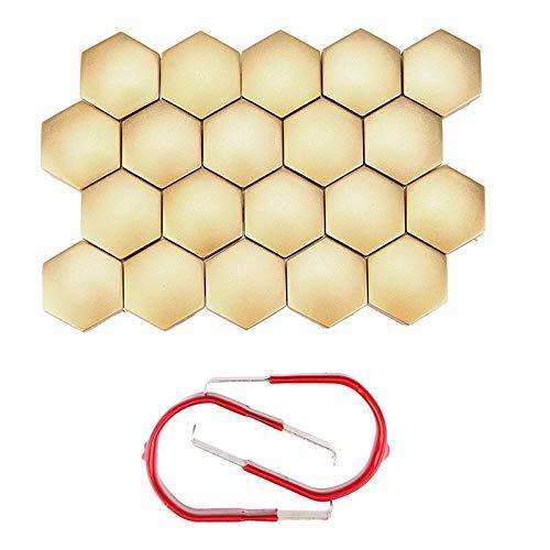 KangFang-Ge, Muttern & Schrauben 20Pcs 19MM Chrom-Leichtmetall-Radmuttern-Ansatz-Bolzen-Kappen-Abdeckungs-Schutz-Plastikuniversal Dropship ap22 (Color : Gold)