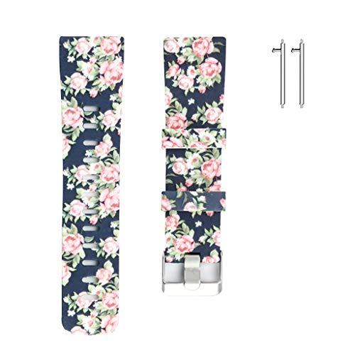 FBGood Retro Blumenmuster Ersatz Uhrenarmband, Unisex Sportarmband Mode Weiches Silikon Geschäft Ersatzband Smart Watch Armband für Fitbit Versa (Armbanduhr Casio Klettverschluss Analoge)