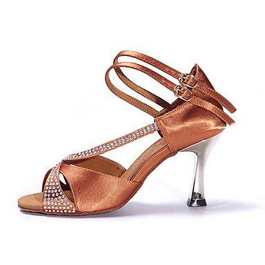 Ruhe @ Damen Dance Schuhe Satin Satin Latin Heels Low Ferse Praxis schwarz/schokolade Schwarz