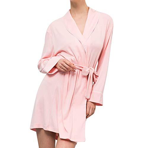 Bata de baño Talla Grande Pijamas para Mujer  Pijamas de algodón de Manga Larga para Mujer SPA Cómodo Baño Pijamas Pijamas de Punto de Yesmile