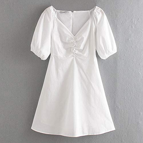 QAQBDBCKL Sommer Damenkleider Damen Retro Mode Elegant V-Ausschnitt Einreiher Glamouröses Kleid Lässig Urlaub Schickes Markenkleid