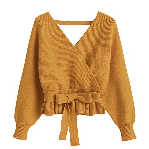 ZAFUL Damen V-Ausschnitt Batwing Langarm Pullover Goldgelb