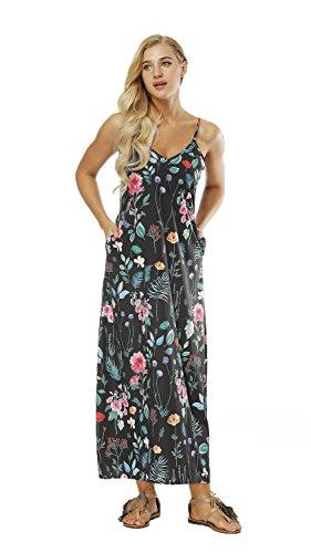 URVIP Damen's Partykleid Sexy Blumen V-Ausschnitt Rückenfrei Maxi Lang Träger Kleid Abendkleid Strandkleid 80223-002 XL -