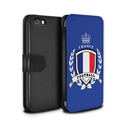 Stuff4 Coque/Etui/Housse Cuir PU Case/Cover pour Apple iPhone 5/5S / France/Français Design / Emblème Football Collection France/Français