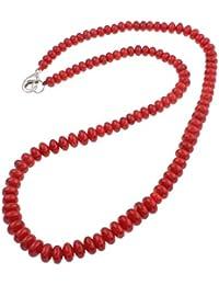 TreasureBay Collar de coral rojo natural, 19 cm, presentado en una bonita caja de regalo.