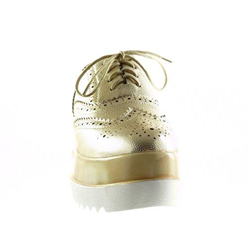Angkorly Damen Schuhe Brogue Schuh - Plateauschuhe - Perforiert Keilabsatz High Heel 7 cm Gold