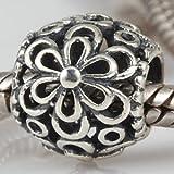 Daisy Round Spacer - Sterling Silver Charm Bead - fits Pandora, Chamilia etc style Bracelets - SpangleBead