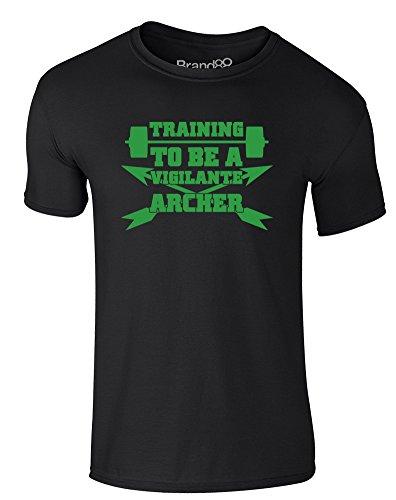 Brand88 - Training to be a Vigilante Archer, Erwachsene Gedrucktes T-Shirt Schwarz/Grün