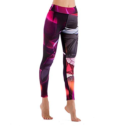 Feidaeu Womens Pants Print Schnell trocknend Super elastisches Yoga Training Laufen Sport Fitness Hose Multi-Style