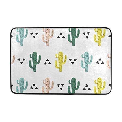 Bikofhd Cute Cactus Doormat 15.7 x 23.6 inch, Living Room Bedroom Kitchen Bathroom Decorative Lightweight Foam Printed Rug