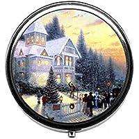 LinJxLee Christmas Big House Portable Round Pill Case Pill Box Medicine Box Medicine Tablet Vitamin Organizer... preisvergleich bei billige-tabletten.eu