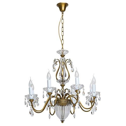 Chiaro 482010308 Eleganter Antiker Kronleuchter 8 Armig Kerzen Metall Messing Glas Kristall Klar Grelles Direktes Licht für Wohnzimmer Schlafzimmer 8 x 40W E14 - Messing-glas Kerze