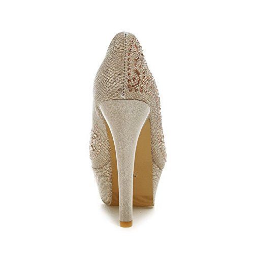 Sapatos Puxar Arredondado Materiais Em Salto Senhoras Bico Da Mistura Dourado Alto De Puros De De Bombas Voguezone009 x6qFzwW