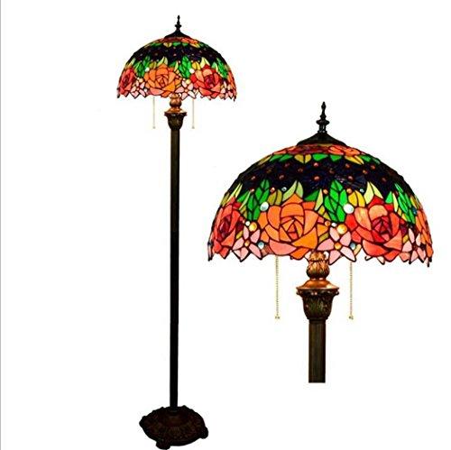 Tiffany-Art-Boden-Lichter, europäische Art Stained Glas-Rosen-Blumen-Stehlampe mit Pedal-Schalter, moderne Innenbeleuchtung Perfekte Stehlampe für Haus, Wohnzimmer, Schlafzimmer E27 ohne Lichtquelle (Tiffany Blumen-art-glas)