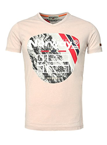 Geographical Norway Herren V-T-Shirt JEGORIO Herrenshirt kurzarm Shirt Rosa