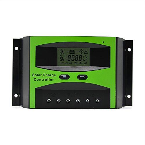Huatuo® Controlador de carga solar 40A 12V/24V con pantalla LCD Temporizador regulador...