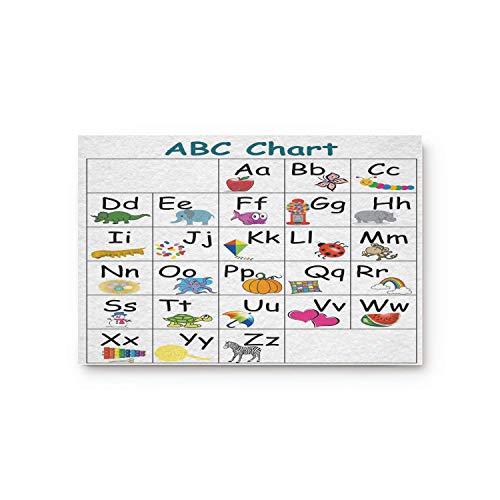 Kinhevao Cartoon Tiere ABC Diagramm Home Bad Bad Dusche Schlafzimmer Matte WC Boden Fußmatte Teppich Teppich Pad Fußmatte Badematte