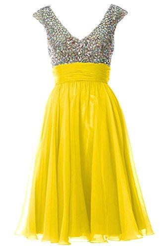 MACLoth Women Cap Sleeve V Neck Crystal Chiffon Short Prom Dress Evening Gown Gelb