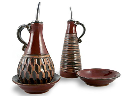 American Made Earthy Terrain Carved Pottery Menage Set Marokkanisches Rot (American Made Mikrowelle)