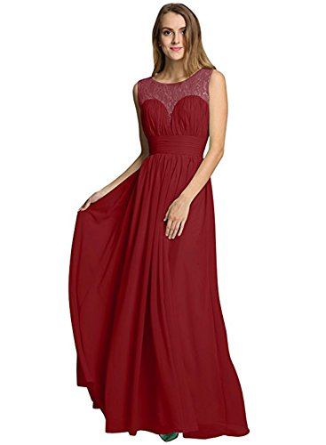 Azbro Women's Sleeveless Evening Lace Panel Chiffon Dress Burgundy
