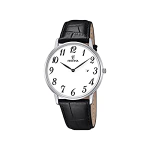 Festina Men's Quartz Watch with White Dial Analogue Display and Black Leather Strap F6831/1
